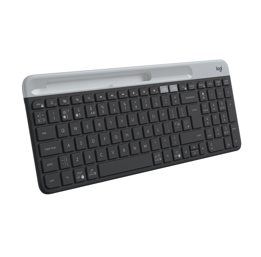 Logitech K580 Slim Wireless Keyboard Tastatur Nordisk Svart